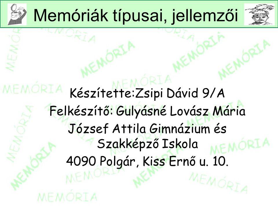 Memóriák típusai, jellemzői Készítette:Zsipi Dávid 9/A Felkészítő: Gulyásné Lovász Mária József Attila Gimnázium és Szakképző Iskola 4090 Polgár, Kiss