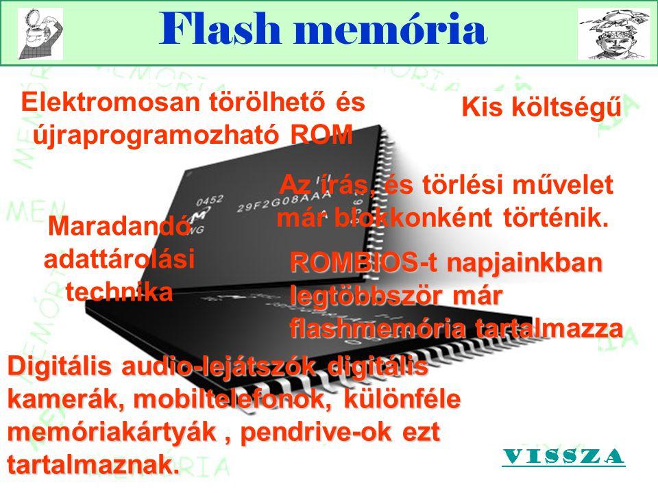 Flash memória Maradandó adattárolási technika Az írás, és törlési művelet már blokkonként történik. ROMBIOS-t napjainkban legtöbbször már flashmemória
