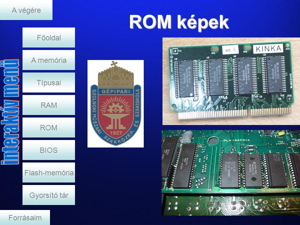 ROM képek Típusai RAM A memória A végére ROM BIOS Flash-memória Gyorsító tár Forrásaim Főoldal