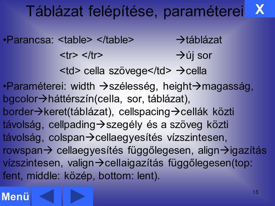 Táblázat felépítése, paraméterei 15 Parancsa:  táblázat  új sor cella szövege  cella Paraméterei: width  szélesség, height  magasság, bgcolor  h
