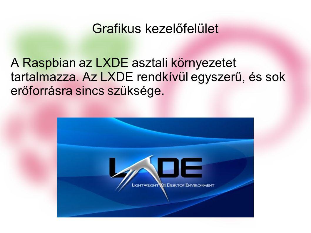 Grafikus kezelőfelület A Raspbian az LXDE asztali környezetet tartalmazza.
