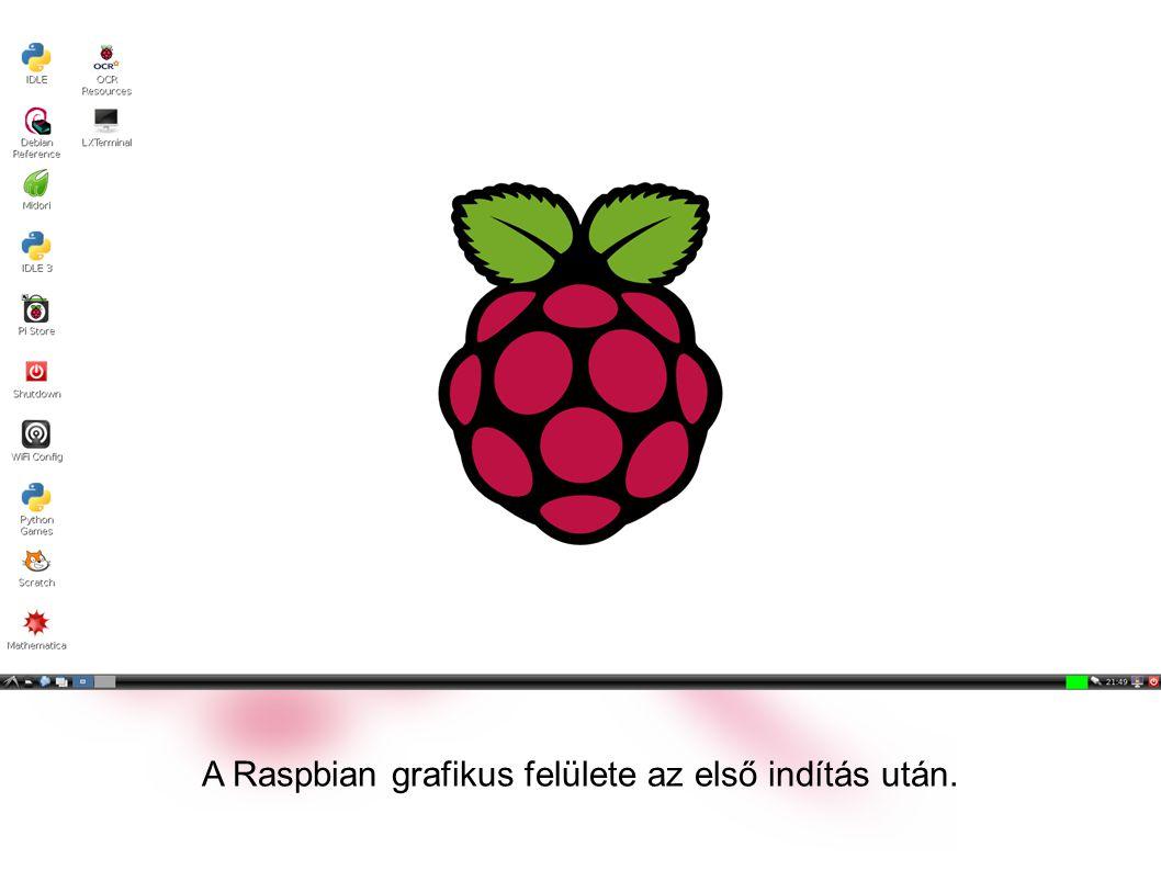 A Raspbian grafikus felülete az első indítás után.