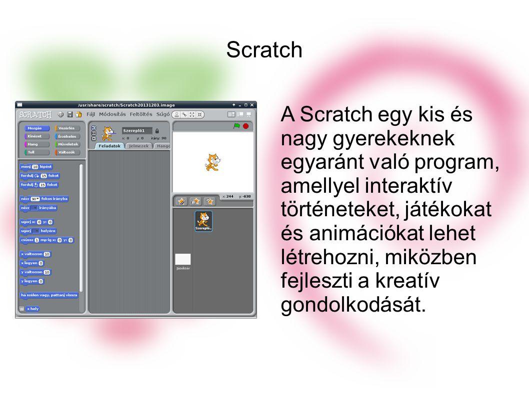 Scratch A Scratch egy kis és nagy gyerekeknek egyaránt való program, amellyel interaktív történeteket, játékokat és animációkat lehet létrehozni, miközben fejleszti a kreatív gondolkodását.