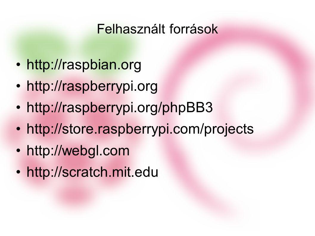 Felhasznált források http://raspbian.org http://raspberrypi.org http://raspberrypi.org/phpBB3 http://store.raspberrypi.com/projects http://webgl.com http://scratch.mit.edu