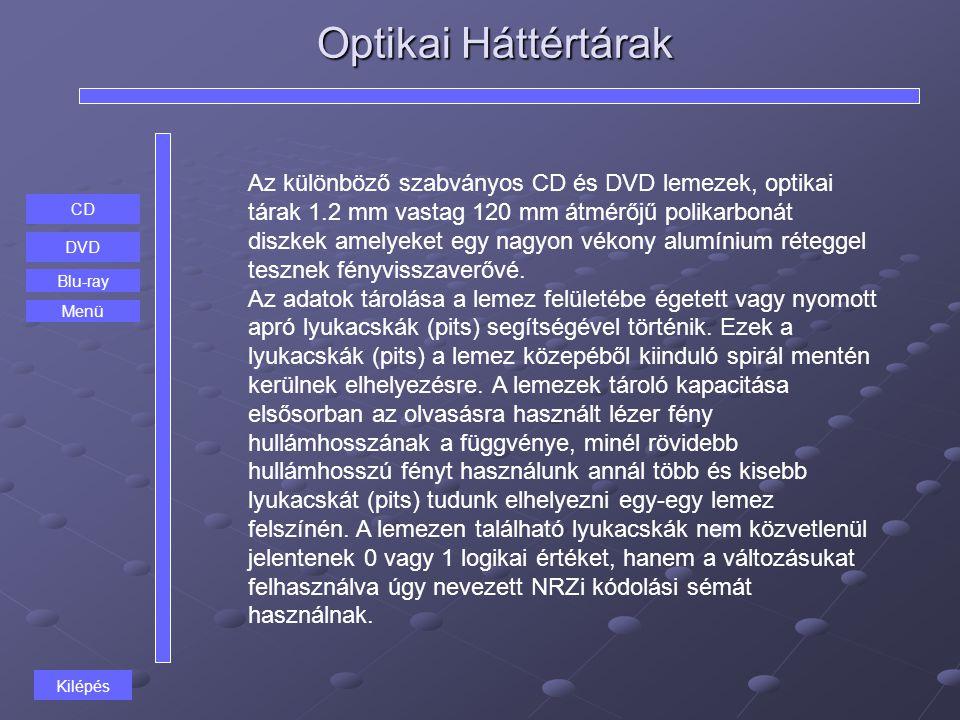 Optikai Háttértárak CD DVD Blu-ray Az különböző szabványos CD és DVD lemezek, optikai tárak 1.2 mm vastag 120 mm átmérőjű polikarbonát diszkek amelyek