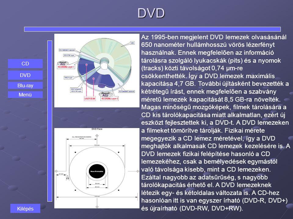 DVD CD DVD Blu-ray Az 1995-ben megjelent DVD lemezek olvasásánál 650 nanométer hullámhosszú vörös lézerfényt használnak. Ennek megfelelően az informác