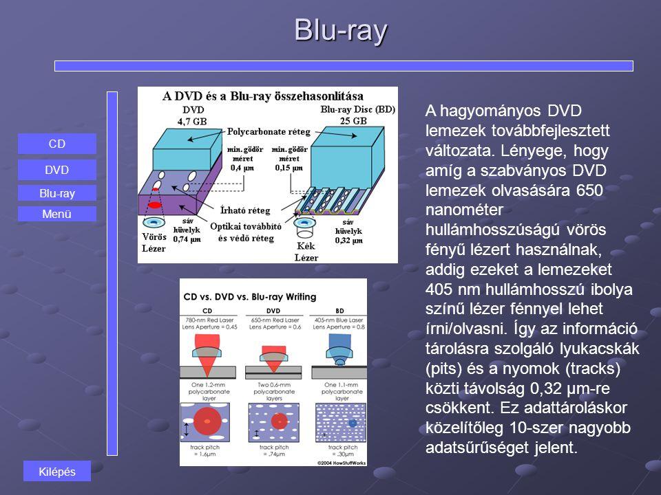 Blu-ray CD DVD Blu-ray A hagyományos DVD lemezek továbbfejlesztett változata. Lényege, hogy amíg a szabványos DVD lemezek olvasására 650 nanométer hul