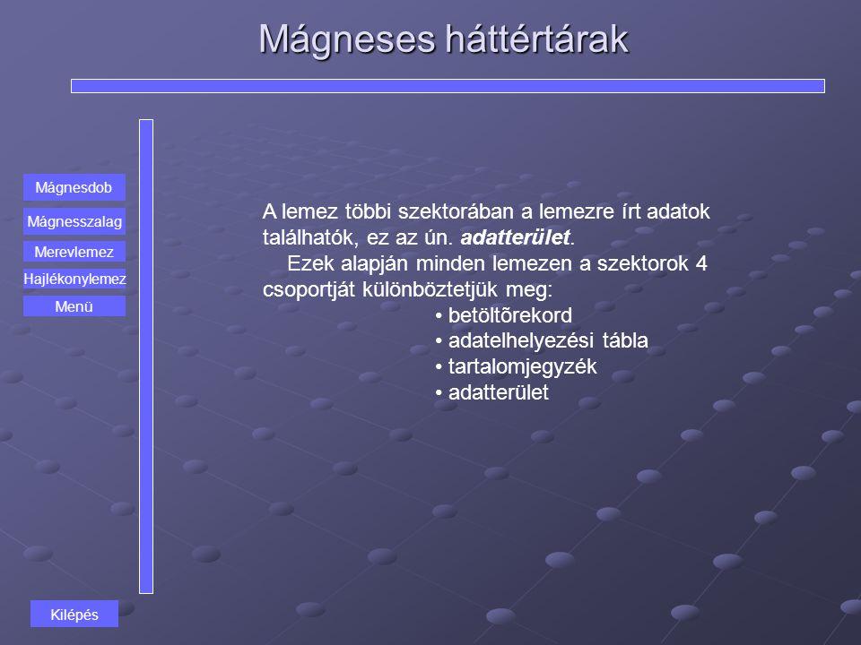 Mágneses háttértárak Mágnesdob Mágnesszalag Merevlemez A lemez többi szektorában a lemezre írt adatok találhatók, ez az ún. adatterület. Ezek alapján