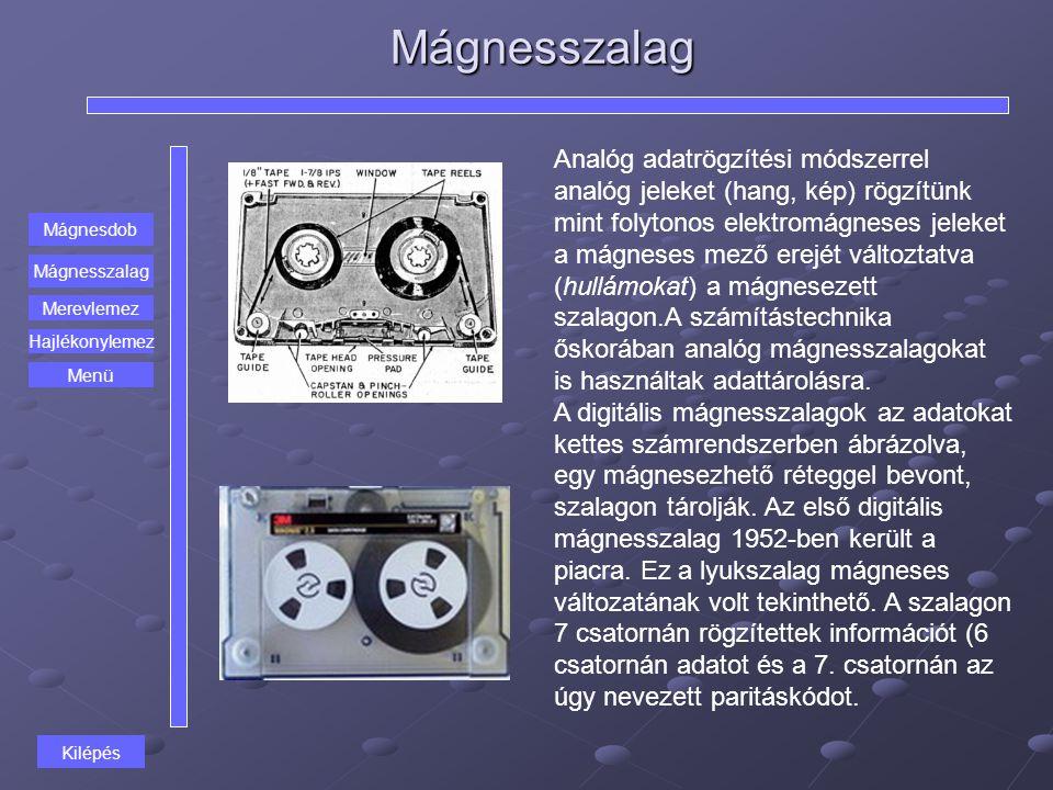 Mágnesszalag Mágnesdob Mágnesszalag Merevlemez Hajlékonylemez Analóg adatrögzítési módszerrel analóg jeleket (hang, kép) rögzítünk mint folytonos elek