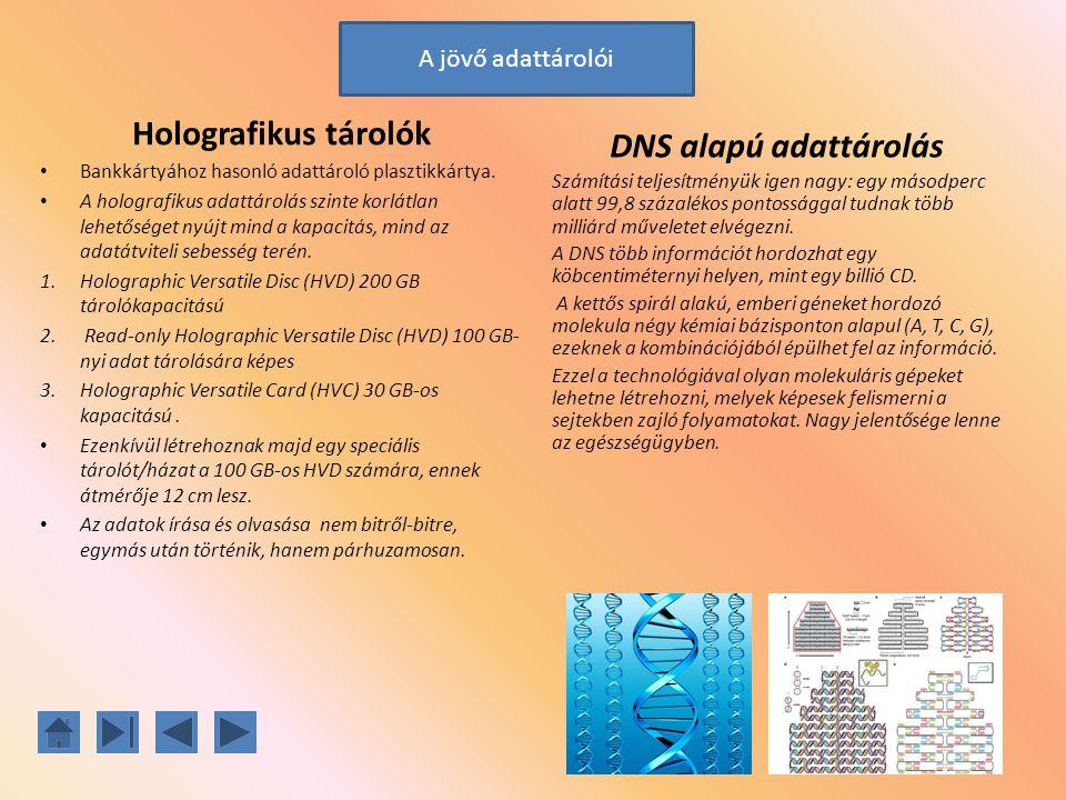 Holografikus tárolók Bankkártyához hasonló adattároló plasztikkártya. A holografikus adattárolás szinte korlátlan lehetőséget nyújt mind a kapacitás,