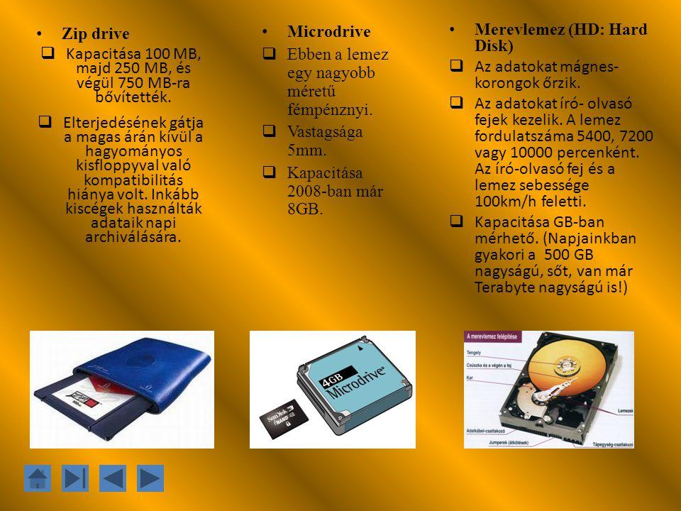 Zip drive  Kapacitása 100 MB, majd 250 MB, és végül 750 MB-ra bővítették.  Elterjedésének gátja a magas árán kívül a hagyományos kisfloppyval való k
