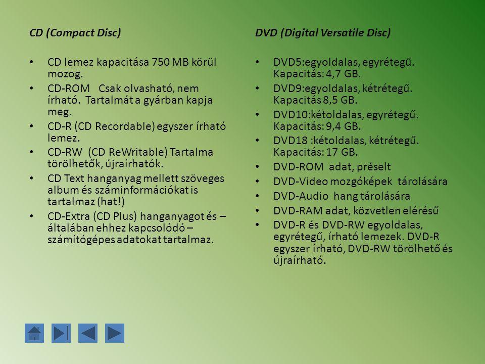 CD (Compact Disc) CD lemez kapacitása 750 MB körül mozog. CD-ROM Csak olvasható, nem írható. Tartalmát a gyárban kapja meg. CD-R (CD Recordable) egysz
