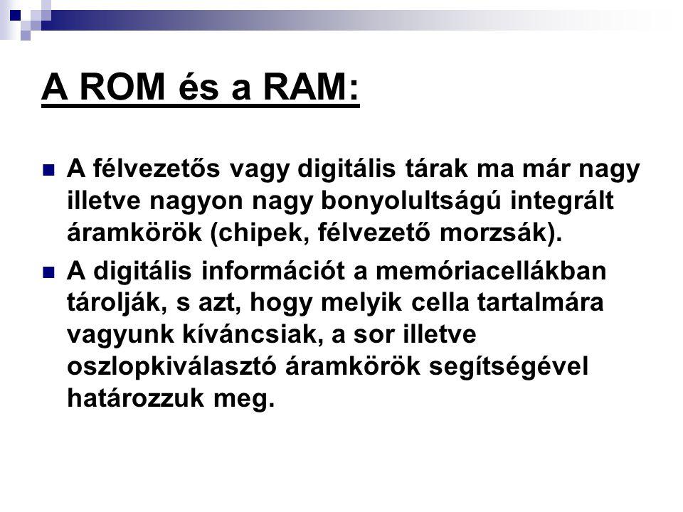 A ROM és a RAM: A félvezetős vagy digitális tárak ma már nagy illetve nagyon nagy bonyolultságú integrált áramkörök (chipek, félvezető morzsák). A dig