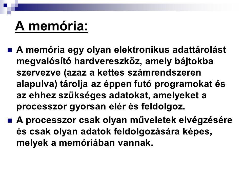 A memória: A memória egy olyan elektronikus adattárolást megvalósító hardvereszköz, amely bájtokba szervezve (azaz a kettes számrendszeren alapulva) t
