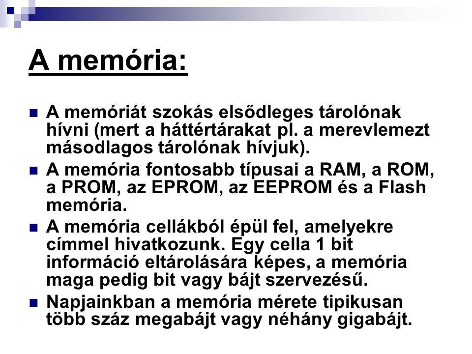 A memória: A memóriát szokás elsődleges tárolónak hívni (mert a háttértárakat pl. a merevlemezt másodlagos tárolónak hívjuk). A memória fontosabb típu