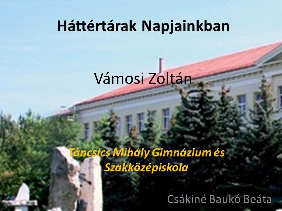 Tovább Vámosi Zoltán Táncsics Mihály Gimnázium és Szakközépiskola Csákiné Baukó Beáta Háttértárak Napjainkban