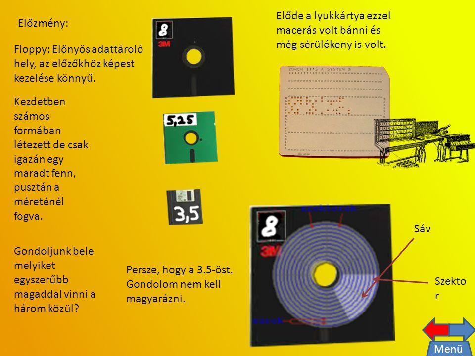 Előzmény: Floppy: Előnyös adattároló hely, az előzőkhöz képest kezelése könnyű.