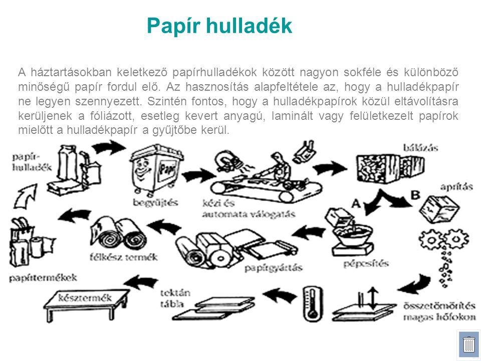 Papír hulladék A háztartásokban keletkező papírhulladékok között nagyon sokféle és különböző minőségű papír fordul elő. Az hasznosítás alapfeltétele a