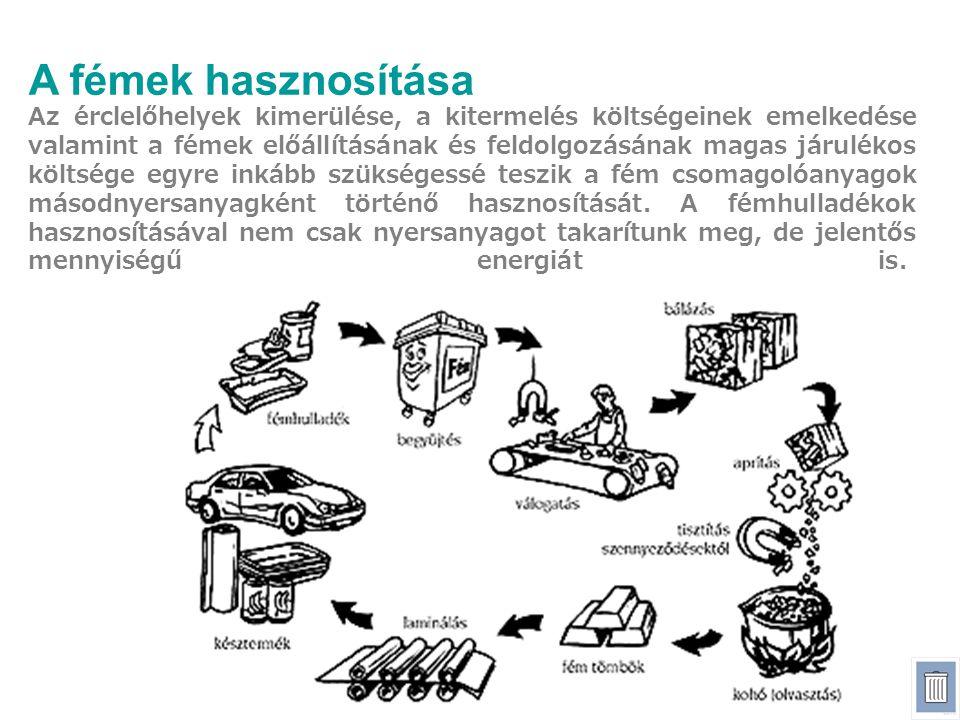 A fémek hasznosítása Az érclelőhelyek kimerülése, a kitermelés költségeinek emelkedése valamint a fémek előállításának és feldolgozásának magas járulé