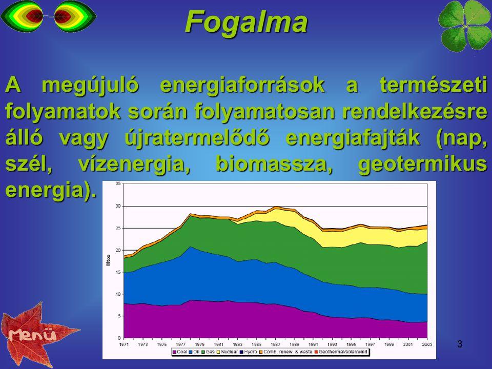 3Fogalma A megújuló energiaforrások a természeti folyamatok során folyamatosan rendelkezésre álló vagy újratermelődő energiafajták (nap, szél, vízener