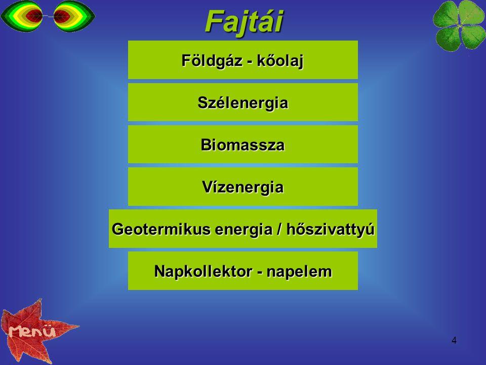 4Fajtái Földgáz - kőolaj Földgáz - kőolaj Biomassza Szélenergia Vízenergia Geotermikus energia / hőszivattyú Geotermikus energia / hőszivattyú Napkoll