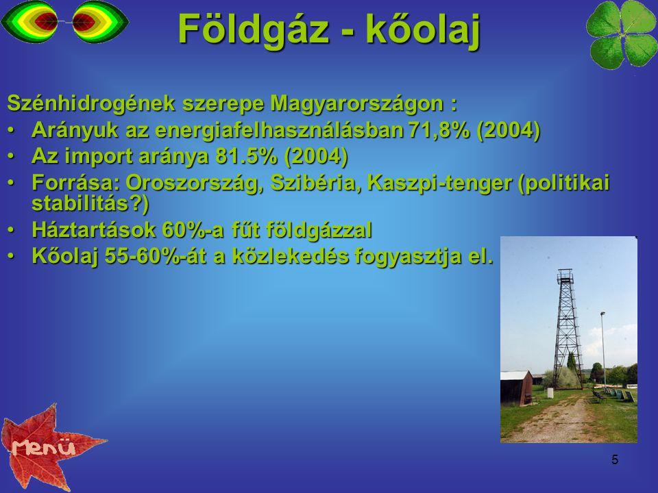 5 Földgáz - kőolaj Szénhidrogének szerepe Magyarországon : Arányuk az energiafelhasználásban 71,8% (2004)Arányuk az energiafelhasználásban 71,8% (2004