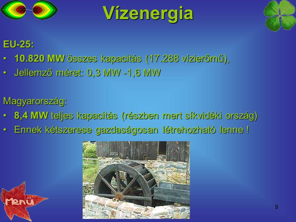 10 Geotermikus energia / hőszivattyú Geotermikus energia hasznosítása:Geotermikus energia hasznosítása: erőmű – nagy épület/intézmény/település fűtése – ház fűtéseerőmű – nagy épület/intézmény/település fűtése – ház fűtése EU-15: 1052 MW hőtermelés (2002)EU-15: 1052 MW hőtermelés (2002) Magyarország: 750 MW hőtermelés van mostMagyarország: 750 MW hőtermelés van most Ennek 15-szöröse még gazdaságos lenne.Ennek 15-szöröse még gazdaságos lenne.