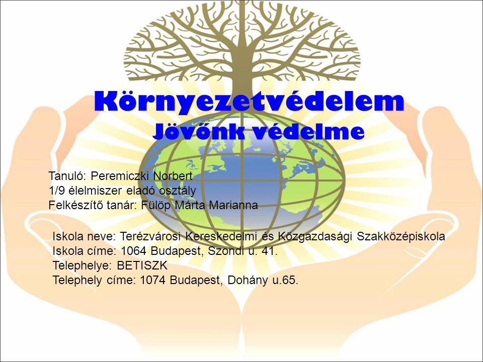 Környezetvédelem Jövőnk védelme Iskola neve: Terézvárosi Kereskedelmi és Közgazdasági Szakközépiskola Iskola címe: 1064 Budapest, Szondi u. 41. Teleph