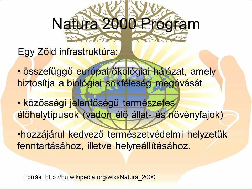 Natura 2000 Program Egy Zöld infrastruktúra: összefüggő európai ökológiai hálózat, amely biztosítja a biológiai sokféleség megóvását közösségi jelentő