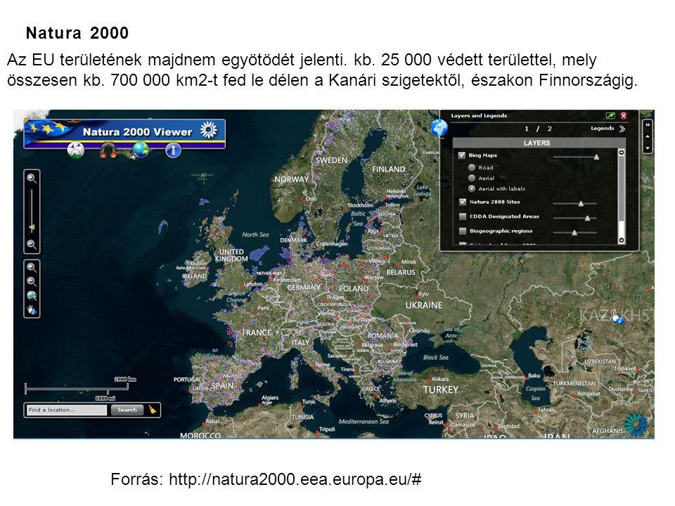 Natura 2000 Forrás: http://natura2000.eea.europa.eu/# Az EU területének majdnem egyötödét jelenti. kb. 25 000 védett területtel, mely összesen kb. 700