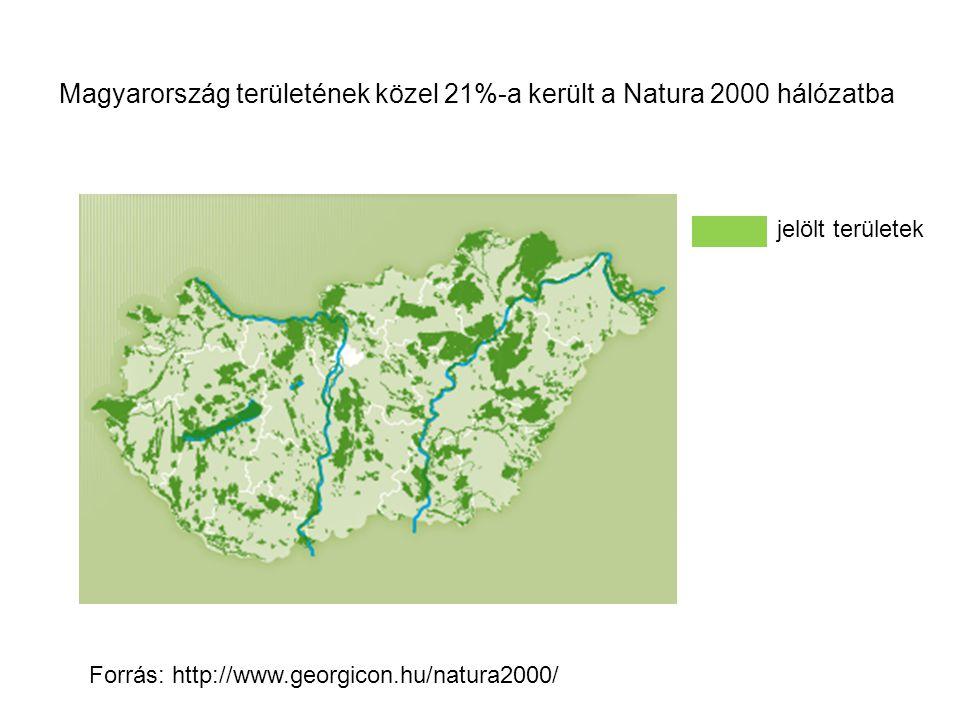 Magyarország területének közel 21%-a került a Natura 2000 hálózatba Forrás: http://www.georgicon.hu/natura2000/ jelölt területek