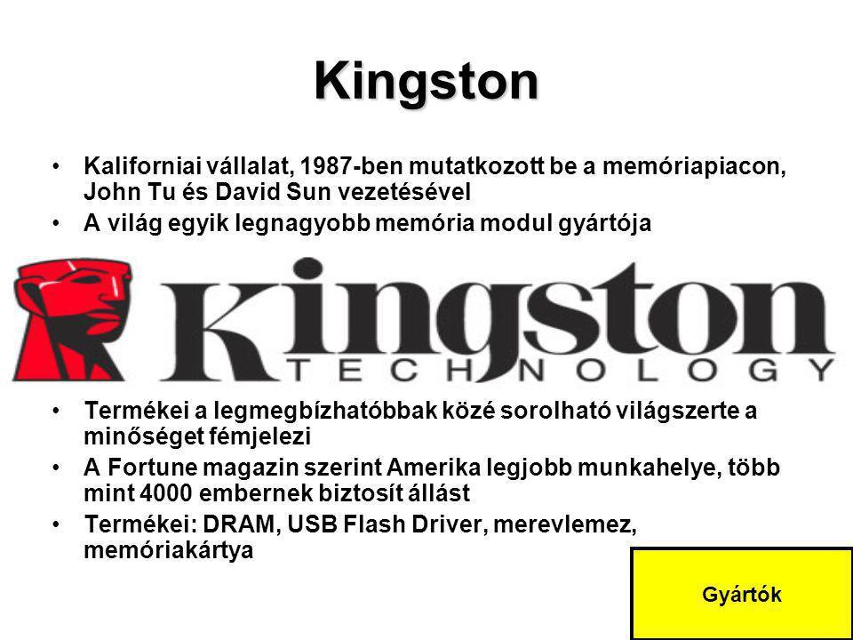 Kingston Kaliforniai vállalat, 1987-ben mutatkozott be a memóriapiacon, John Tu és David Sun vezetésével A világ egyik legnagyobb memória modul gyártó