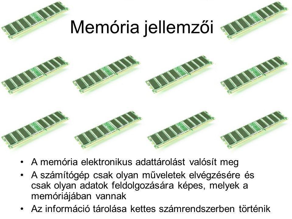 Memória jellemzői A memória elektronikus adattárolást valósít meg A számítógép csak olyan műveletek elvégzésére és csak olyan adatok feldolgozására ké