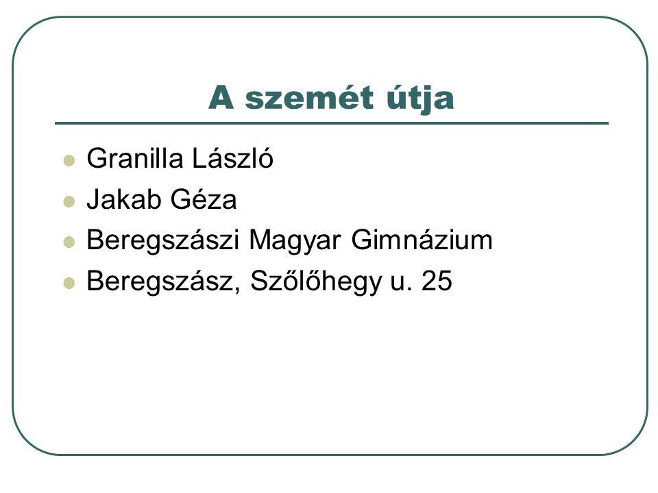 A szemét útja Granilla László Jakab Géza Beregszászi Magyar Gimnázium Beregszász, Szőlőhegy u. 25
