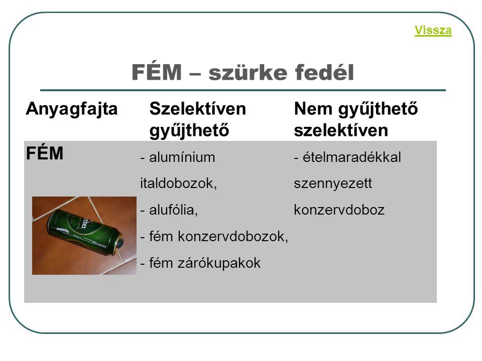 FÉM – szürke fedél AnyagfajtaSzelektíven gyűjthető Nem gyűjthető szelektíven FÉM - alumínium italdobozok, - alufólia, - fém konzervdobozok, - fém záró
