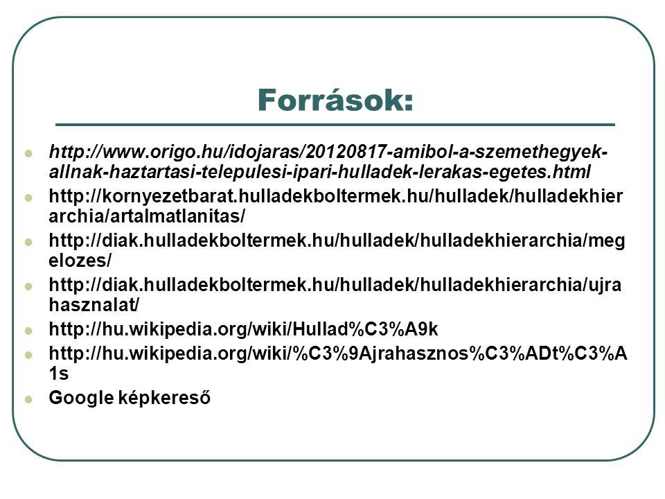 Források: http://www.origo.hu/idojaras/20120817-amibol-a-szemethegyek- allnak-haztartasi-telepulesi-ipari-hulladek-lerakas-egetes.html http://kornyeze
