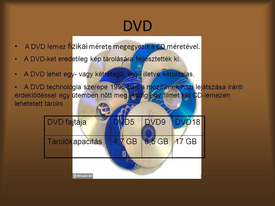 DVD A D VD lemez fizikai mérete megegyezik a CD méretével.