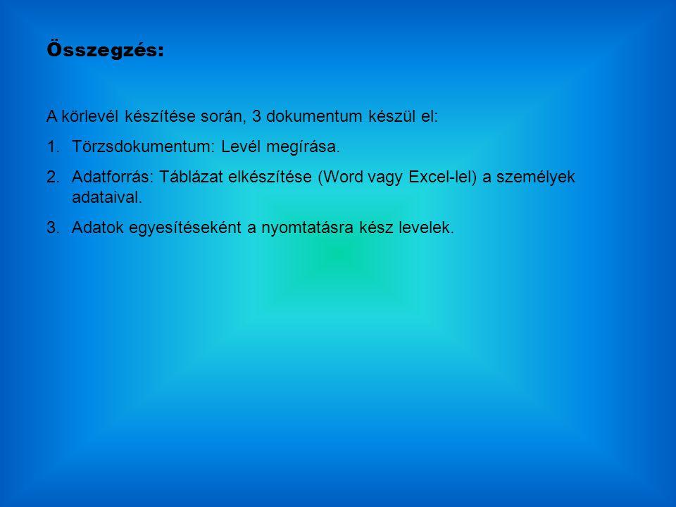 Összegzés: A körlevél készítése során, 3 dokumentum készül el: 1.Törzsdokumentum: Levél megírása. 2.Adatforrás: Táblázat elkészítése (Word vagy Excel-