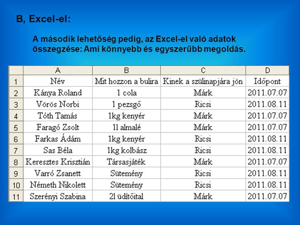 A második lehetőség pedig, az Excel-el való adatok összegzése: Ami könnyebb és egyszerűbb megoldás. B, Excel-el:
