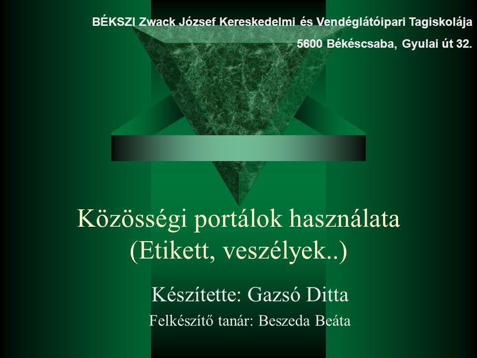 Közösségi portálok használata (Etikett, veszélyek..) Készítette: Gazsó Ditta Felkészítő tanár: Beszeda Beáta BÉKSZI Zwack József Kereskedelmi és Vendé