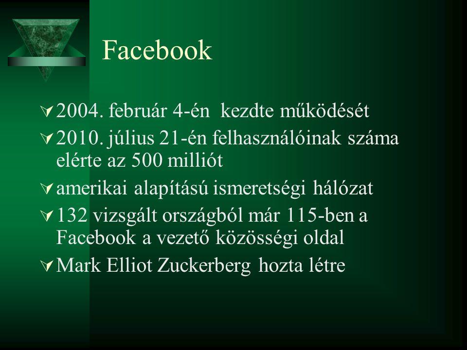 Facebook  2004. február 4-én kezdte működését  2010. július 21-én felhasználóinak száma elérte az 500 milliót  amerikai alapítású ismeretségi hálóz
