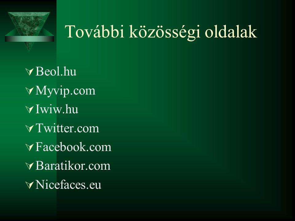 További közösségi oldalak  Beol.hu  Myvip.com  Iwiw.hu  Twitter.com  Facebook.com  Baratikor.com  Nicefaces.eu