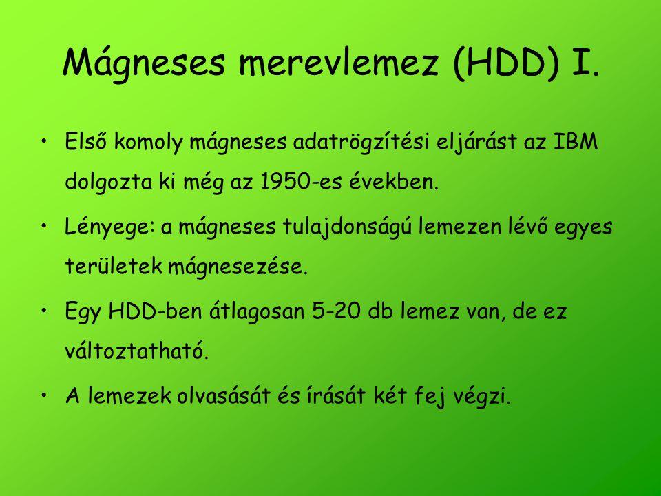 Mágneses merevlemez (HDD) I. Első komoly mágneses adatrögzítési eljárást az IBM dolgozta ki még az 1950-es években. Lényege: a mágneses tulajdonságú l