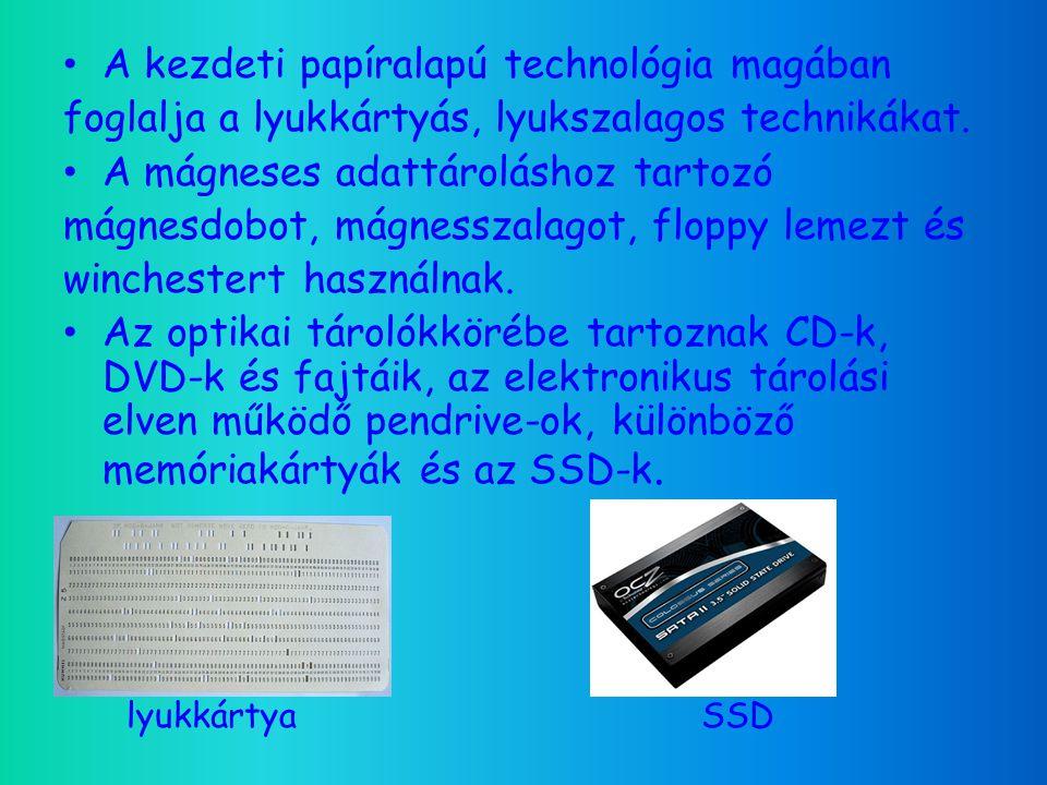 172518701940- es évek 1950- es évek 1960- as évek 1970-es évek 1980-as évek 1990-es évek 2000-es évek Napjaink Lyukkártya Lyukszalag Mágnesdob Mágnesszalag Merevlemez Hajlékonylemez CD DVD NG-DVD Pendrive Memóriakártyák SSD A háttértárolók időbeli elterjedése