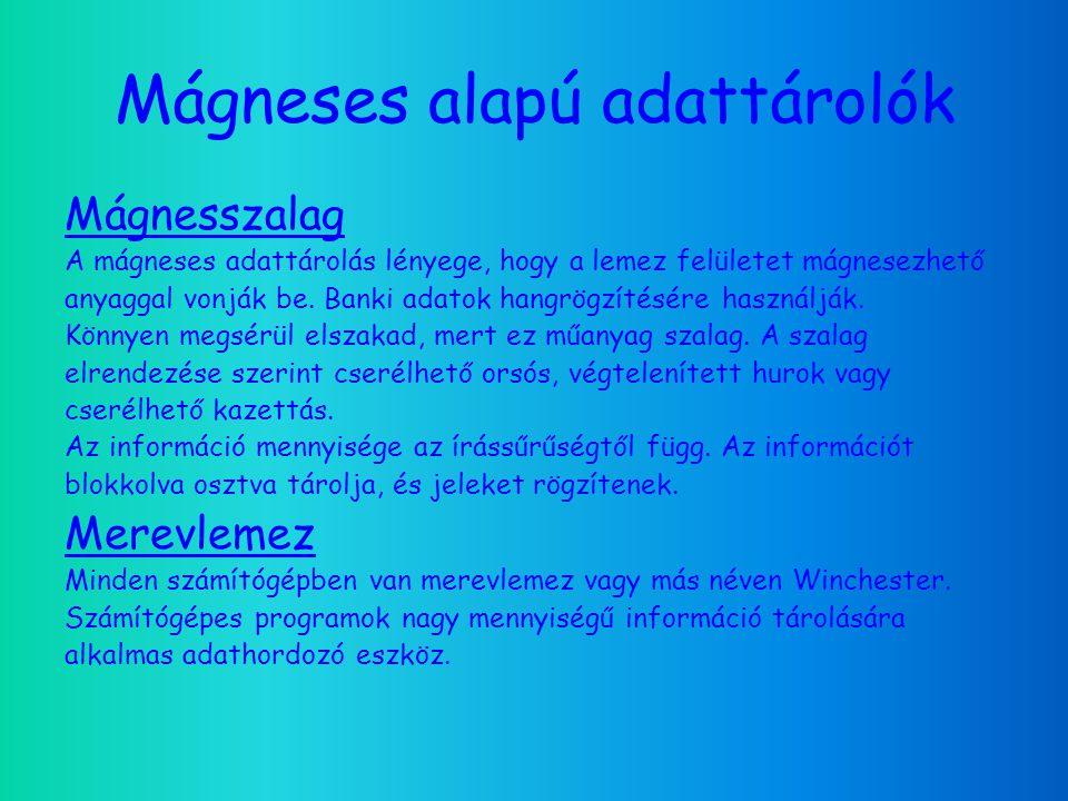 Mágneses alapú adattárolók Mágnesszalag A mágneses adattárolás lényege, hogy a lemez felületet mágnesezhető anyaggal vonják be.