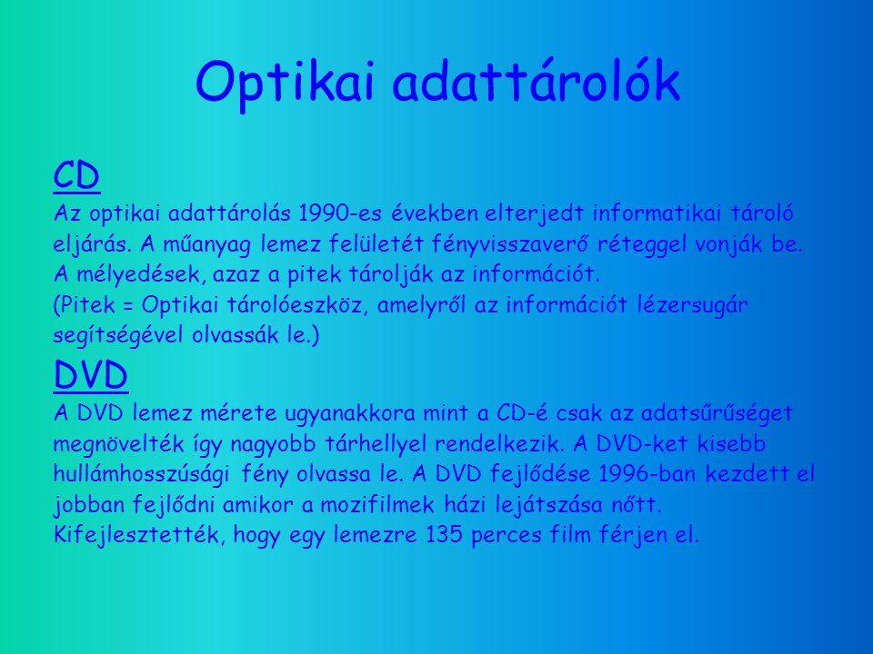 Optikai adattárolók CD Az optikai adattárolás 1990-es években elterjedt informatikai tároló eljárás.