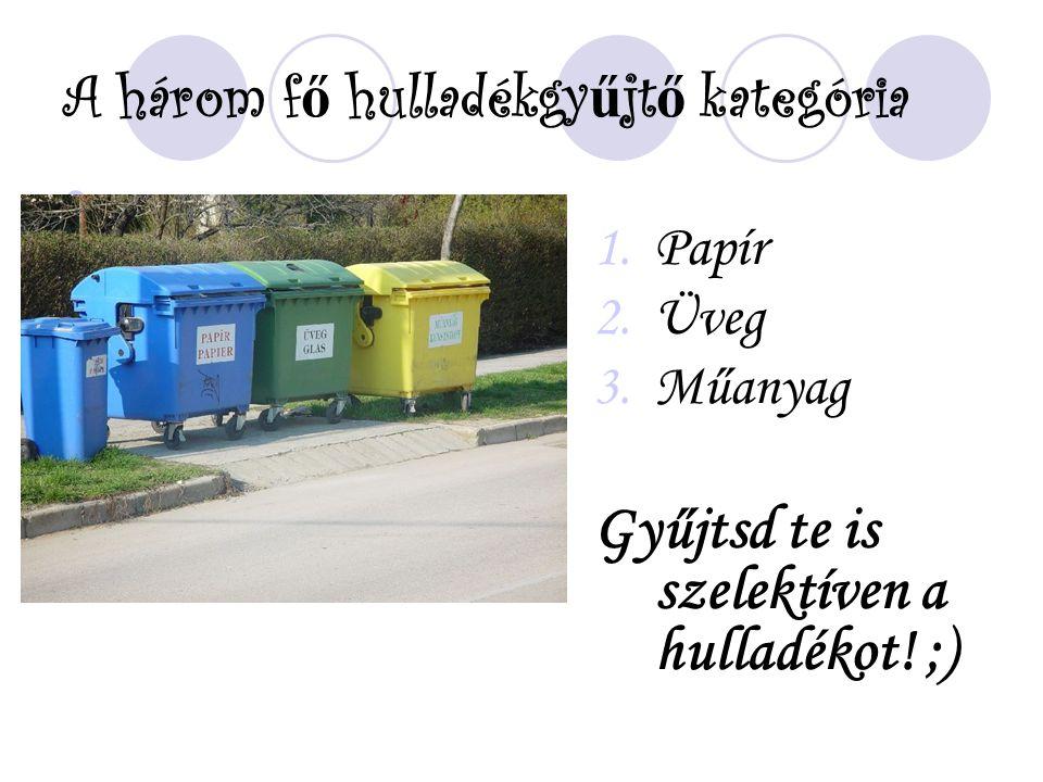 A három f ő hulladékgy ű jt ő kategória 1.Papír 2.Üveg 3.Műanyag Gyűjtsd te is szelektíven a hulladékot! ;)