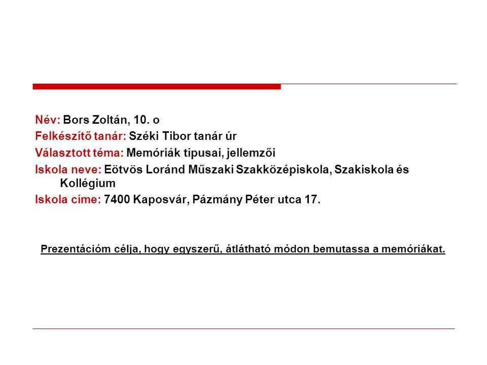 Név: Bors Zoltán, 10.