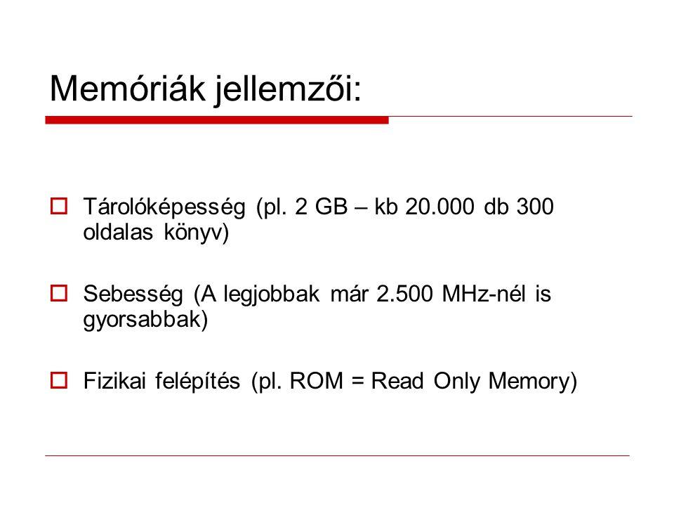 Memóriatípusok: RAM………………………..Random Access Memory - SRAM - DRAM - CMOS ROM………………………..Read-Only Memory PROM……………………...Programmable Read-Only Memory EPROM…………………….Earsable Programmable Read-Only Memory EEPROM…………………..Electrically Erasable Programmable Read-Only Memory Flash Memória…………….(Speciális EEPROM) - NOR - NAND Virtuális Memória ………...(Ha nincs operatív memória)