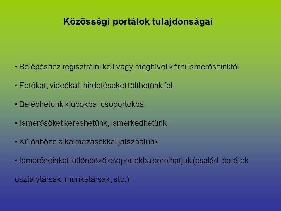 Közösségi portálok tulajdonságai Belépéshez regisztrálni kell vagy meghívót kérni ismerőseinktől Fotókat, videókat, hirdetéseket tölthetünk fel Beléph